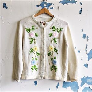 Vintage White Embroidered Floral Homemade Cardigan